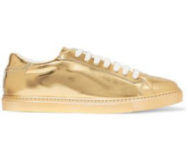 Metallic patent-leather sneakers