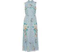 Floral-print silk-blend fil coupé midi dress