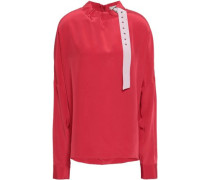 Buckled Silk Crepe De Chine Blouse Red