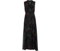 Pussy-bow Floral-print Silk-chiffon Maxi Dress Black