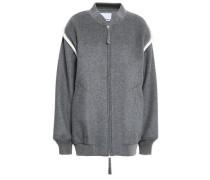 Wool-blend Fleece Bomber Jacket Gray