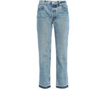 Frayed High-rise Straight-leg Jeans Mid Denim  4
