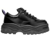 Angel Glossed-leather Platform Sneakers Black