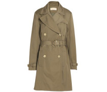 Belted cotton-blend gabardine trench coat