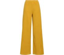 Ribbed Cotton-blend Wide-leg Pants Saffron Size 0
