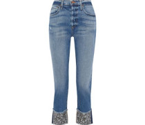 Woman Amazing Cropped Embellished Mid-rise Straight-leg Jeans Mid Denim
