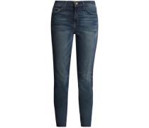 The Stiletto Velvet-trimmed Mid-rise Slim-leg Jeans Mid Denim  3