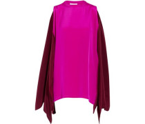 Cape-effect two-tone silk cady top