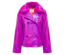 Woman Betti Faux Fur-trimmed Pvc Jacket Magenta