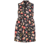 Woman Pussy-bow Floral-print Faille Mini Dress Black