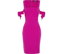 Bow-embellished stretch-cady dress