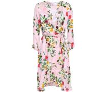 Audrey Ruffled Floral-print Silk-blend Wrap Dress Baby Pink
