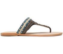 Embellished Leather Sandals Light Blue