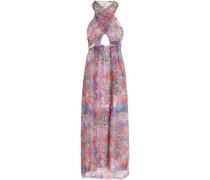 Cutout printed silk-chiffon halterneck gown