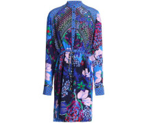 Leigh printed silk mini shirt dress
