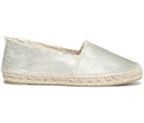 Metallic Canvas Espadrilles Platinum