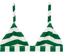 The Morgan Striped Triangle Bikini Top Emerald