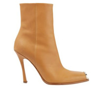 Woman Wilamiona Metal-trimmed Leather Ankle Boots Camel