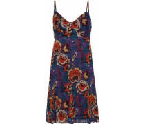 Floral-print crepe de chine dress