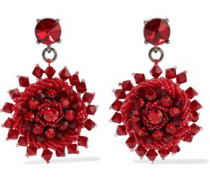 Gunmetal-tone, Crystal And Bead Earrings Red Size --