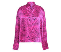 Printed Silk-satin Shirt Bright Pink