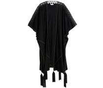 Lace-paneled tasseled two-tone silk-blend cape