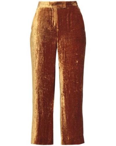Cropped velvet wide-leg pants