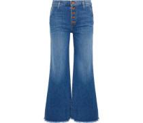 Cropped High-rise Wide-leg Jeans Light Denim  9
