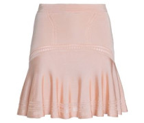 Pleated lace-trimmed stretch-knit skirt