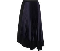 Woman Asymmetric Pleated Satin-paneled Crepe Skirt Black