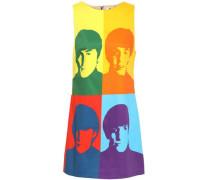 Color-block printed cotton-blend mini dress