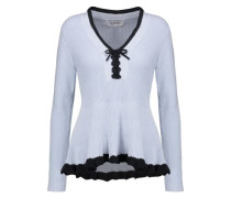 Lace-up ruffled cotton and cashmere-blend peplum sweater