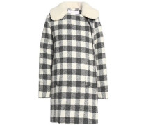 Faux shearling-trimmed checked brushed woven coat
