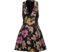 Mollie pleated metallic brocade mini dress
