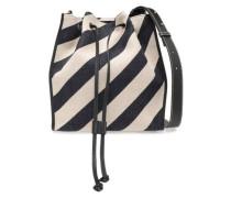 Leather-trimmed Printed Canvas Shoulder Bag Black Size --
