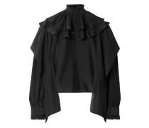 Woman Ruffled Silk-chiffon Top Black