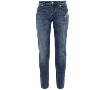 Appliquéd Faded Mid-rise Straight-leg Jeans Mid Denim  6