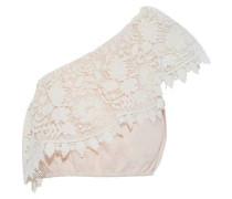Doris one-shoulder guipure lace-paneled linen crop top