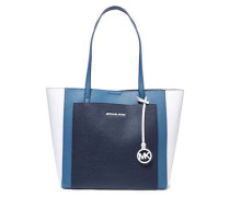 Woman Color-block Pebbled-leather Tote Blue