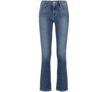 Cropped Faded High-rise Bootcut Jeans Dark Denim  4
