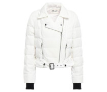 Quilted Shell Down Biker Jacket Off-white