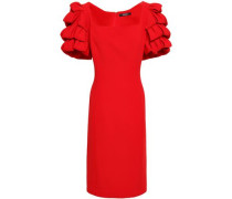 Ruffled Stretch-crepe Dress Red