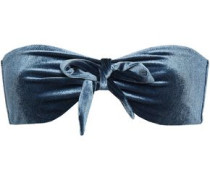Blossom Bow-detailed Velvet Bandeau Bikini Top Storm Blue Size I