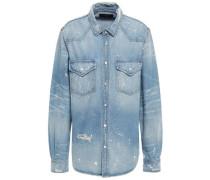 Distressed Painted Denim Shirt Light Denim