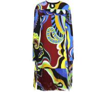 Fringed printed crepe dress
