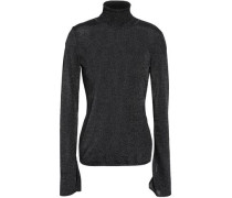 Metallic Stretch-knit Turtleneck Sweater Black