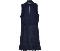 Ruffle-trimmed Silk-georgette And Lace Mini Dress Navy