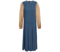 Organza-paneled Silk-crepe Midi Dress Storm Blue
