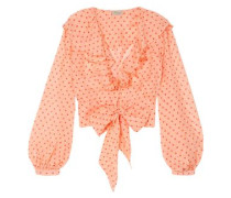 Tie-front Ruffled Polka-dot Silk-chiffon Blouse Peach