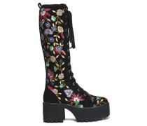 Lace-up embroidered suede platform boots